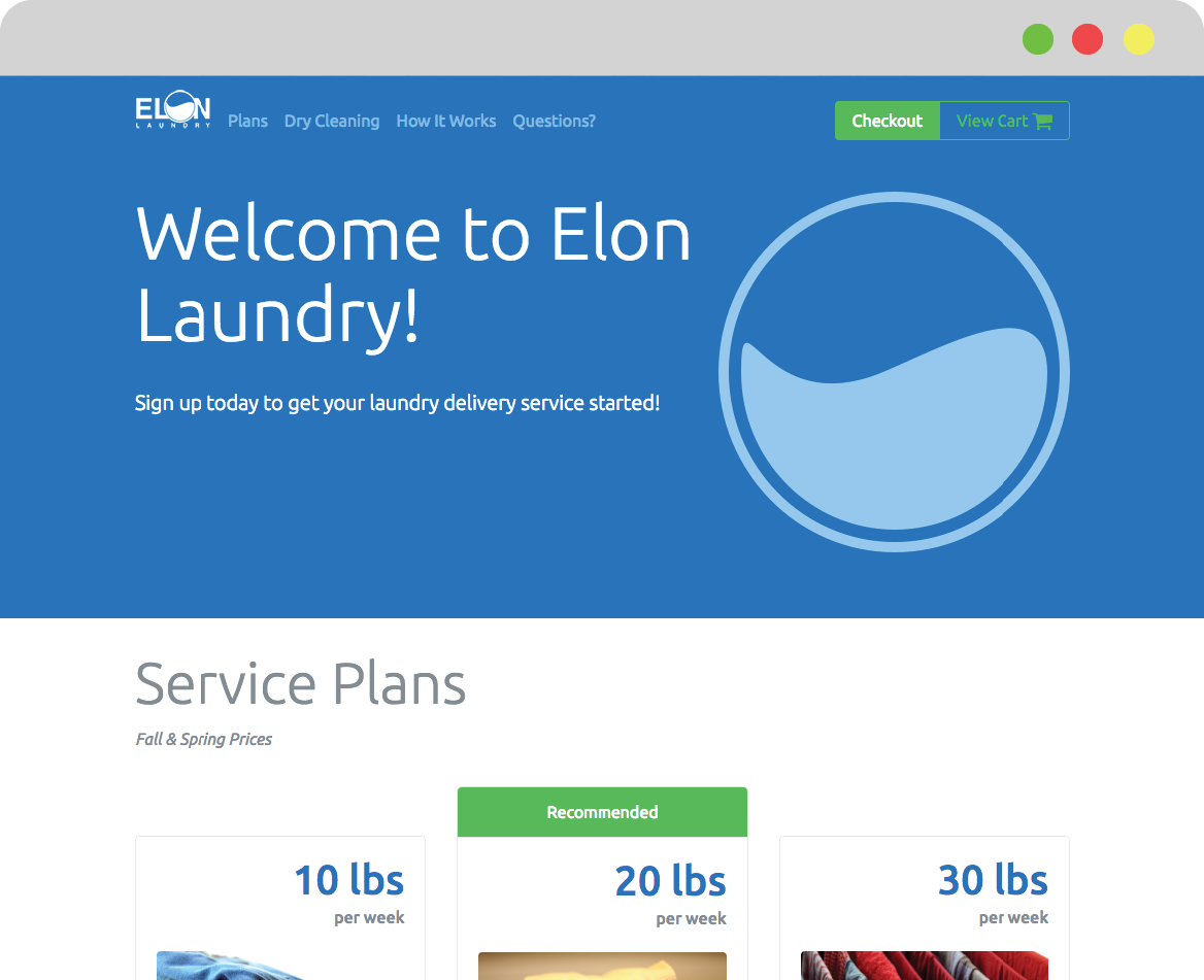 Ecommerce landing page thumbnail for small business Elon Laundry